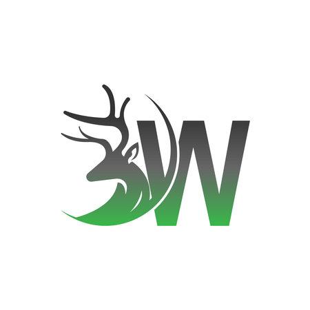 Letter W icon logo with deer illustration design vector