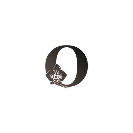 Letter O logo icon with black orchid design vector illustration