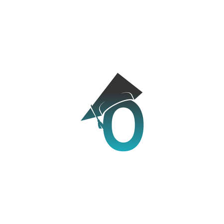Letter O logo icon with graduation hat design vector illustration