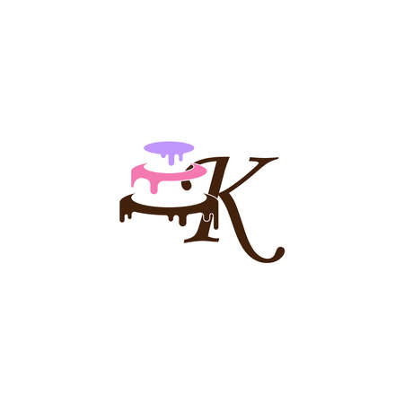 Letter K icon with wedding cake design template vector illustration