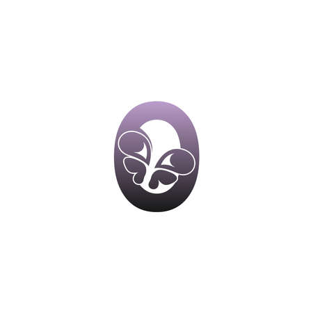 Letter O with butterfly icon logo design vector template Logo