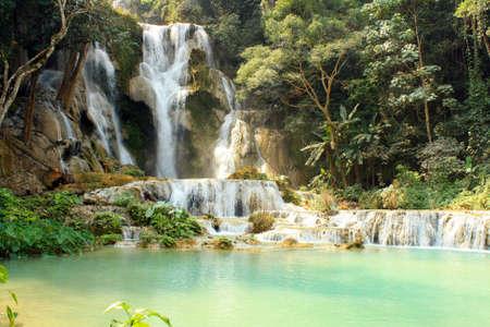 lao: waterfall Kuang Si Lao Stock Photo