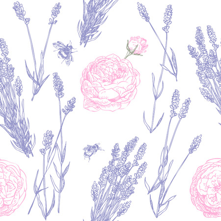 Hand drawn pen and ink lavender and roses seamless pattern Illustration