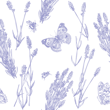 Hand drawn pen and ink lavender and butterflies seamless pattern Illustration