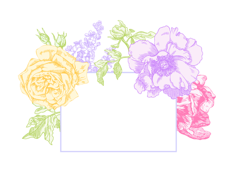 Rose, lilacs, peony and tulip hand drawn engraving illustration in pastel spring colors.