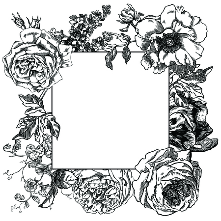 Rose, lilacs, peony and tulip hand drawn engraving illustration.