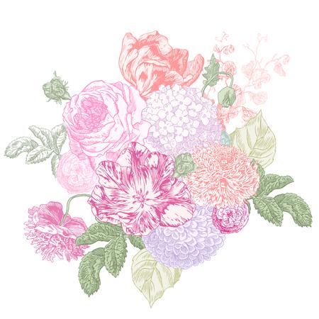 Rose, hydrangea, poppy, lilacs, peony and tulip hand drawn engraving illustration. Illustration