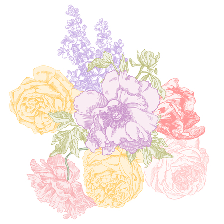 Rose, lilacs, peony, poppy and tulip hand drawn engraving illustration.