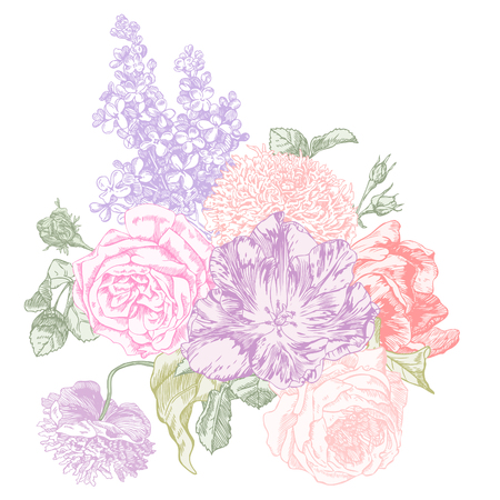 Rose, lilacs, peony and tulip hand drawn engraving illustration in pastel colors