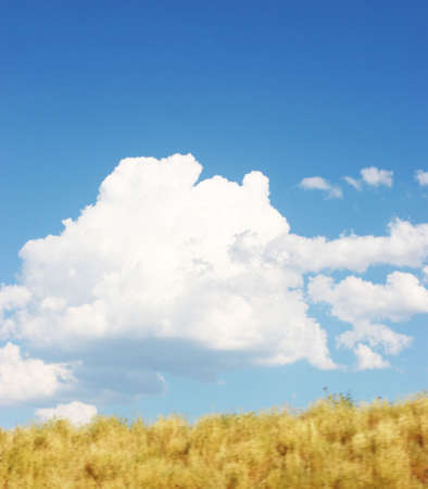 hover: puffy clouds hover in the sky