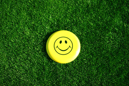A happy face smile sits in the middle of green grass Stock fotó