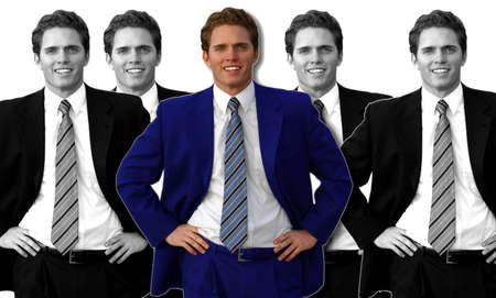 multiple pics of the same business man in the same pose with one business man in the middle dressed in a blue suit, while the rest are in black and white