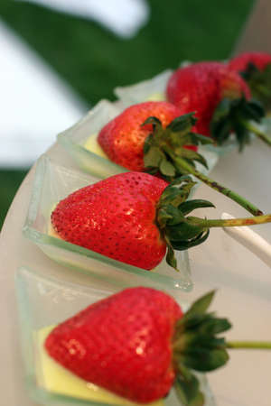strawberries on a platter for a wedding reception