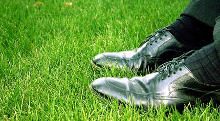 barter: Black, shining busines shoe in the green grass