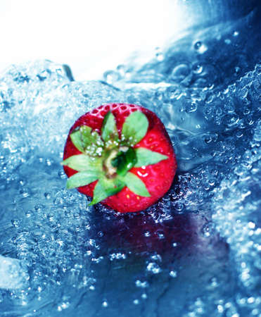 fortifying: Rushing, blue water with fresh strawberry