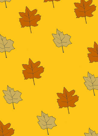 pattern of autumn leaves with an orange background  Imagens