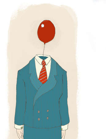 Businessman standing with a red balloon for a head wearing a pin striped suit and a red tie standing in front of a tan background Фото со стока