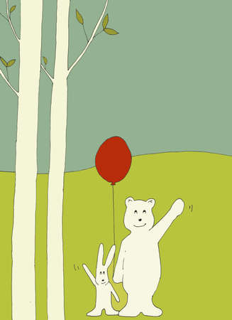 A big bear and a little bunny are waving to the camera while the bear is holding a red balloon and they are both standing in a forest outside