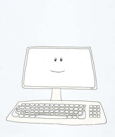 computer screen: close up front view of desktop computer with smiling face on screen