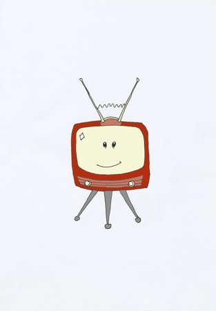enkele televisietoestel met antenne en lachend gezicht op het scherm