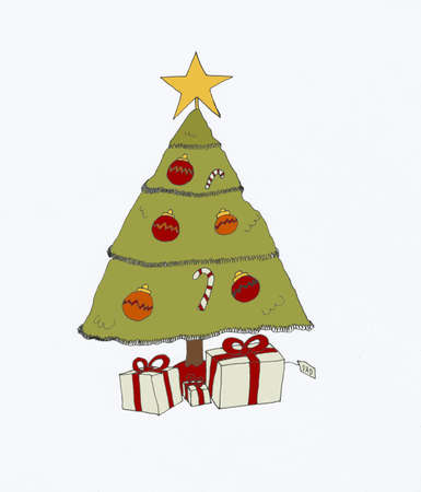 Christmas tree and presents under the tree