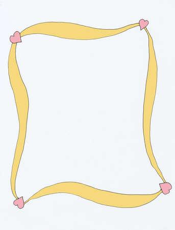vertical color illustration of pink heart and gold frame  版權商用圖片