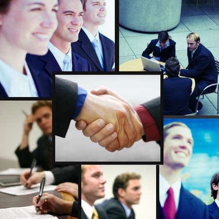 collage theme of positive dynamic business people
