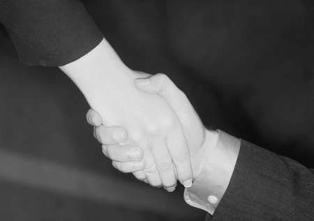 two persons only: Businessman and businesswoman give a handshake to seal the deal  Stock Photo