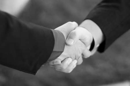 Two Businessmen seal their deal with a Handshake with  grass in the background Stock Photo - 2718796