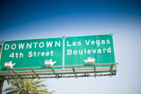 Las Vegas street sign with palm tree in background Stock Photo