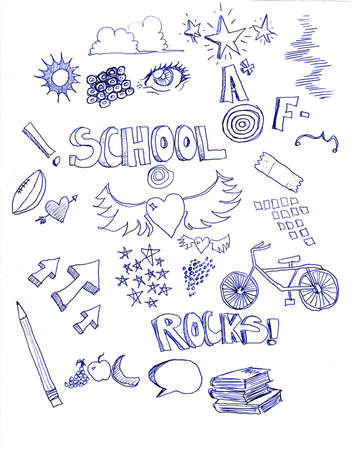 many different doodles with a school theme with letter grades, arrows, pencil, hearts, books, and a bicycle, Imagens - 4221976