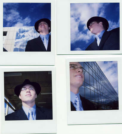 many pictures of a business man and business building put together with a young businessman wearing black hat and suit with a smile and glasses