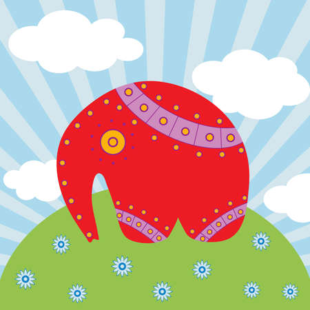 Red elephant on the  beautiful background. Vector