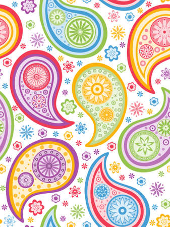 Colorful seamless background with a paisley pattern.