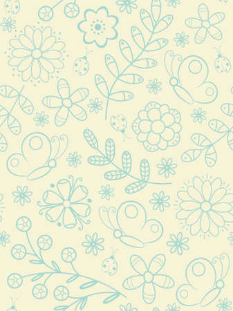 Flower seamless pattern with butterflies and ladybird. Vector illustration. Stock Vector - 6517232