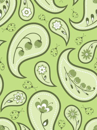 Floral seamless background with a paisley pattern.  Vector
