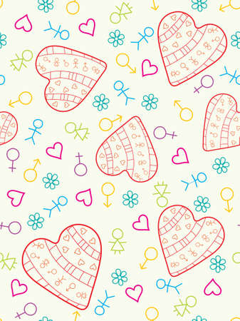 Colorful heart seamless pattern.  illustration. Vector