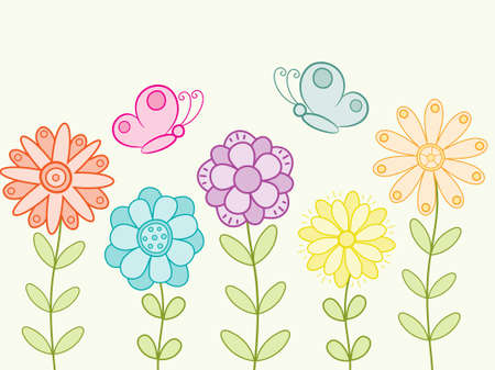 funny picture: Bright background with flowers and butterflies.  illustration.