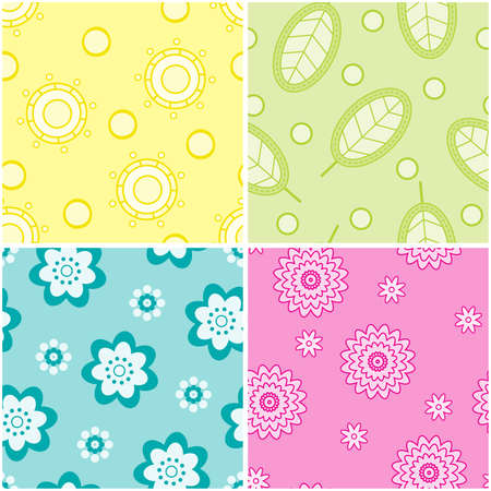 Set of seamless nature patterns. illustration. Vector