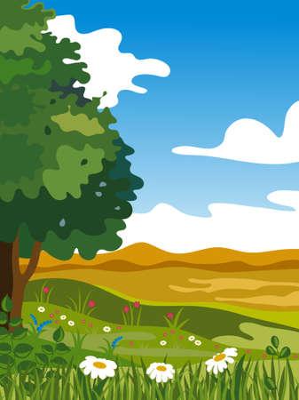 Summer landscape. Vector illustration. Stock Vector - 7164016