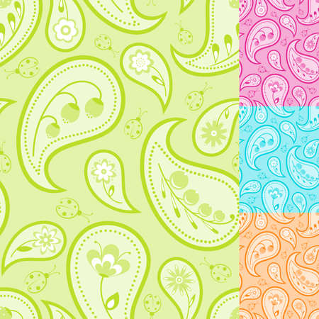 A set of four floral paisley seamless.  Stock Vector - 7387290