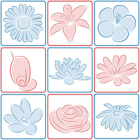 Set of flower icons. illustration. Illustration