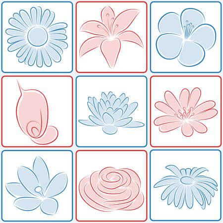 Set of flower icons. illustration. Illustration