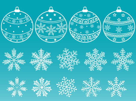 A set of Christmas balls and snowflakes.  illustration. Vector