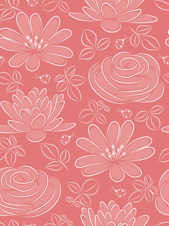 Pink seamless pattern with flowers and ladybird. illustration.