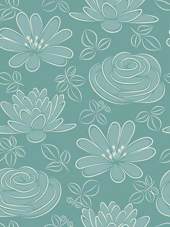 Blue flower seamless pattern.  illustration. Vector