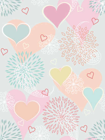 Heart seamless background with flowers and paisley  Vector