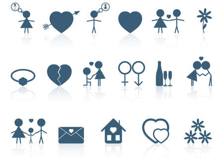 love kiss: Set of love icons
