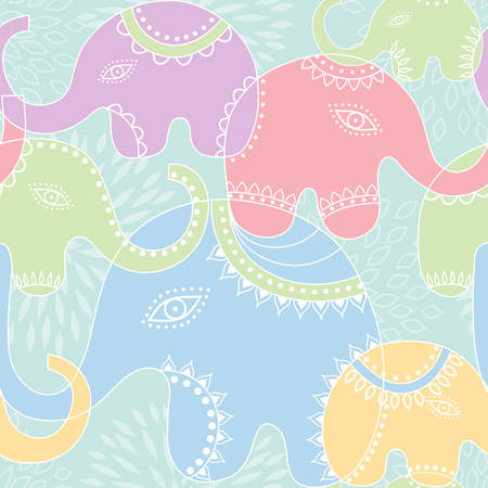 Seamless pattern with elephant.
