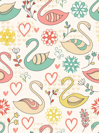 Colorful seamless pattern with swans, hearts and flowers.   illustration. Vector